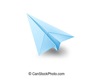 origami, azul, avión