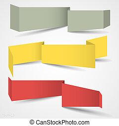 origami, banderas, vector, conjunto