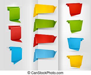 origami, bandiere, carta, colorito