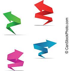 origami, bandiere, freccia