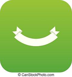 Origami banner icon digital green
