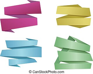 Origami banner ribbons