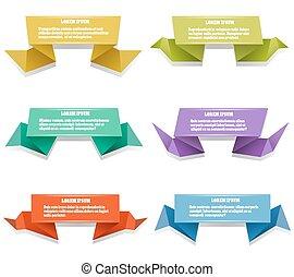 origami, bannières, papier