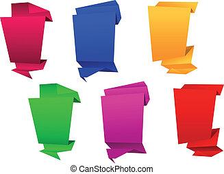 origami, bannières, vertical