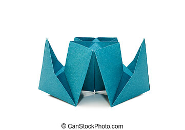 origami, bateau, blanc, isolé, fond