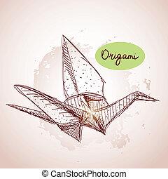origami, beżowy, papier, kreska, tex, grunge, żurawie, sketch., tło.