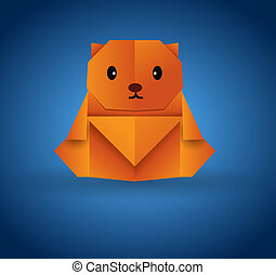 Origami bear - This image is a vector illustration and can...