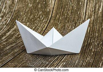origami, bianco, barca carta