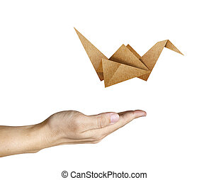 Origami Bird flying from human hand