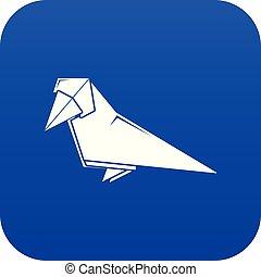 Origami bird icon blue vector