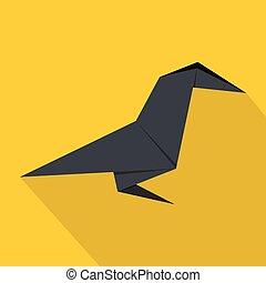 Origami bird icon, flat style