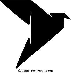 Origami bird icon isolated on white background