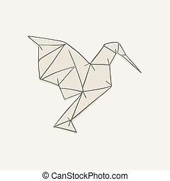 origami bird illustration hand draw style