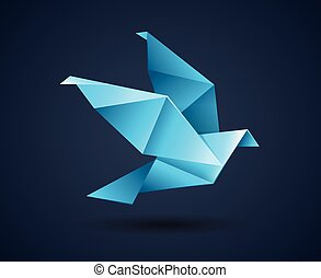 origami bird logo abstract icon
