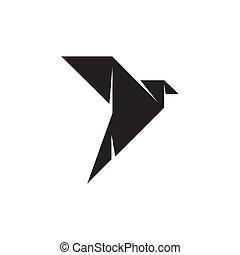 Origami bird logo design template