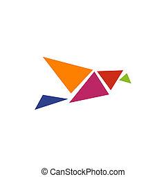 Origami bird logo icon design template