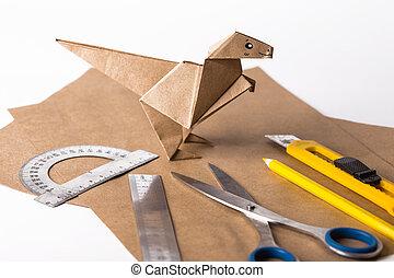 traditional origami dinosaur for kids | Kids origami, Origami easy ... | 195x270