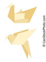 Origami Bird Made of Paper Vector Illustration