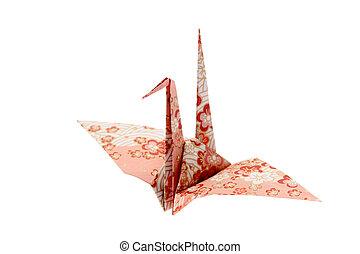Origami bird isolated on white background