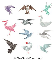 Origami bird set. Vector 3d abstract paper flying birds with wings isolated on white background