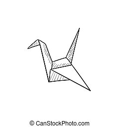 Origami bird sketch icon.