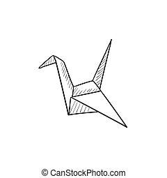 Origami bird sketch icon.