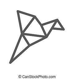 Origami Bird Thin Line Vector Icon