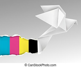 Vector illustration of Origami flying pigeon ripping paper with print colors. Concept for presenting color printing press.