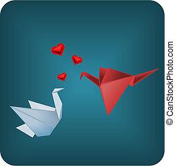 Origami birds in love