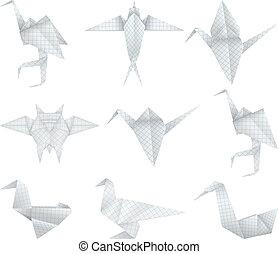 Origami birds set - A paper origami birds collection.