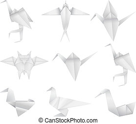 Origami bird's set - A paper origami bird's collection.