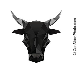 origami black bull symbol - Illustration of black abstract...