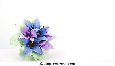 origami, blomma, färgrik