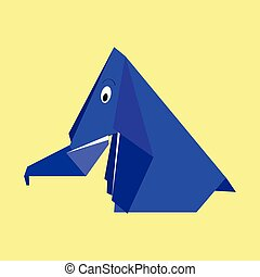 Origami blue paper elephant