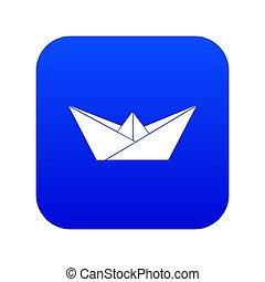 Origami boat icon blue