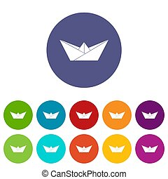 Origami boat icons set color