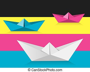 Origami boats on print colors