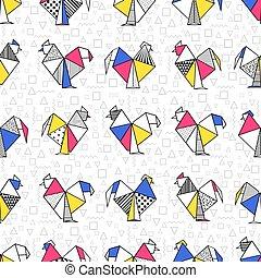 origami, boho, seamless, おんどり