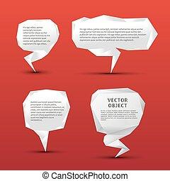 origami, bolle, set, discorso