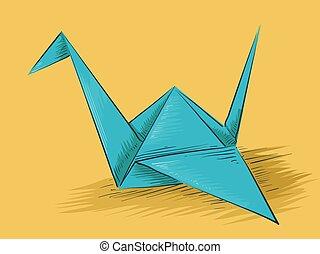 origami, bosquejo, papel, grúa