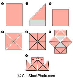 origami, brin, conception, construire, bateau