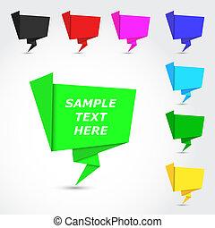 origami, bulles, lustré, coloré