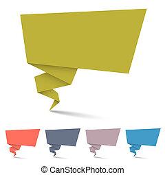 origami, bulles, parole