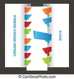 origami, bulles, parole, lustré, coloré