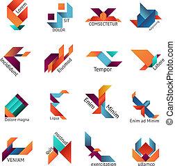 Origami business emblem templates