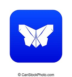 Origami butterfly icon blue