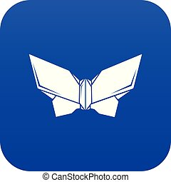 Origami butterfly icon blue vector