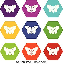 Origami butterfly icons set 9 vector