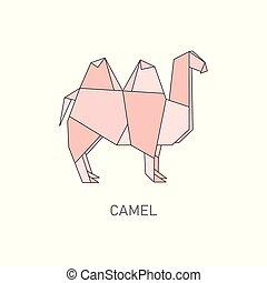 Origami camel isolated on white background