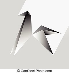 origami, cavalo, vetorial, ilustração